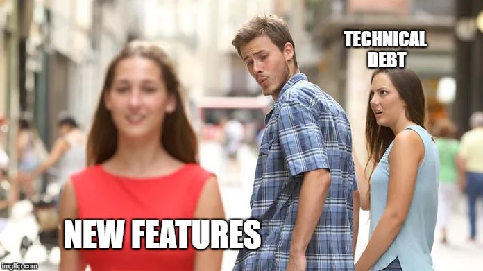 technical debt vs new features